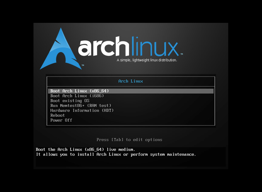 Arch Linux Install Screen